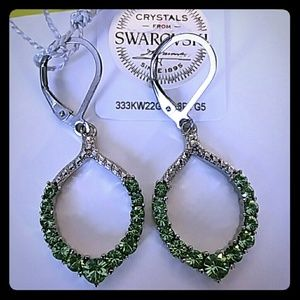 GREEN SWAROVSKI EARRINGS